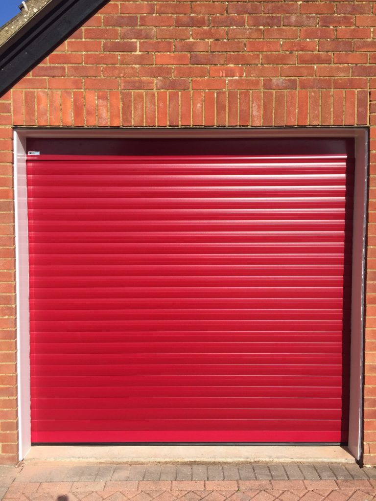 Red Seceuroglide Roller Garage Door fitted by Shutter Spec Security in Chinnor