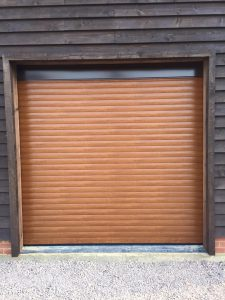 SeceuroGlide roller garage door fitted by Shutter Spec Security in a barn conversion