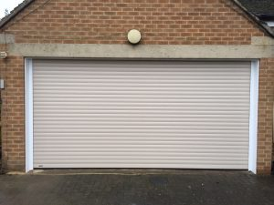 Seceuroglide Roller Garage Door in Cream colour fitted in Oxford by Shutter Spec Security