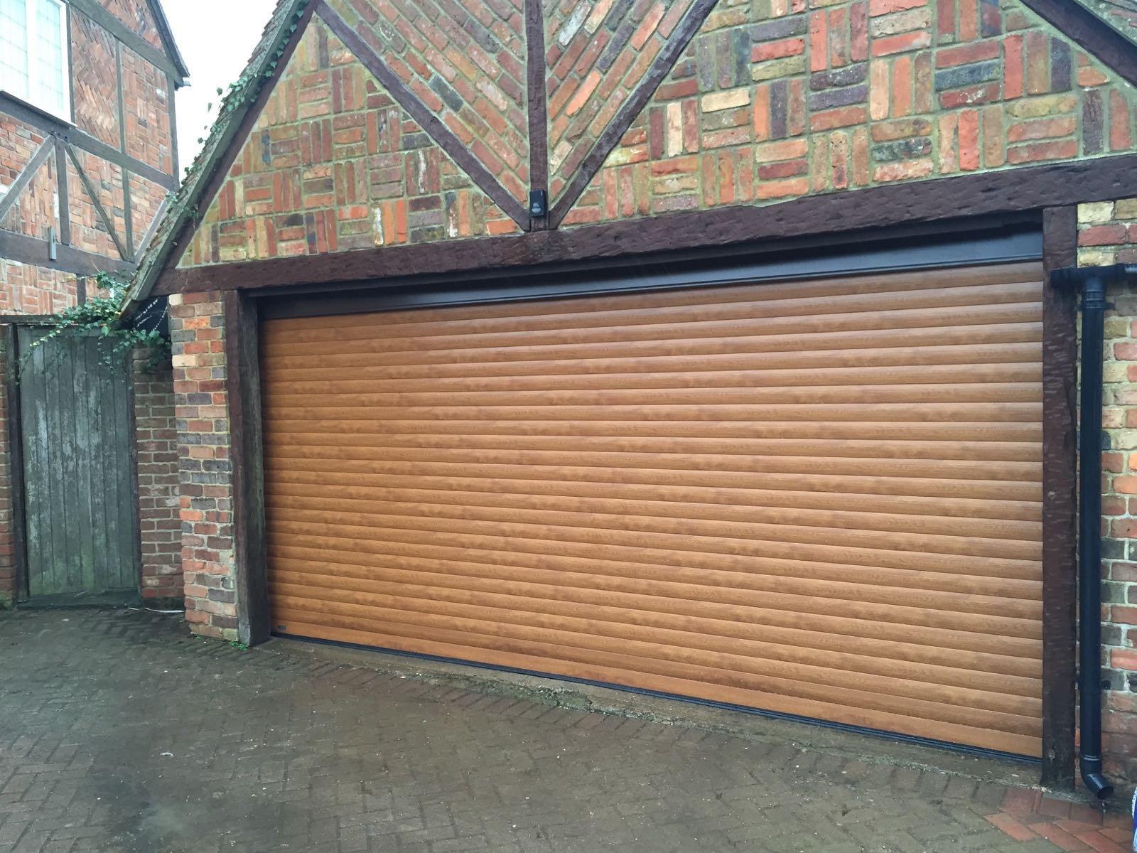 Double Golden Oak Roller Garage Door In Haddenham