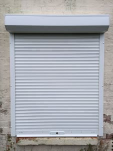 white domestic security shutters installed in Oxford by Shutter Spec Security - front view