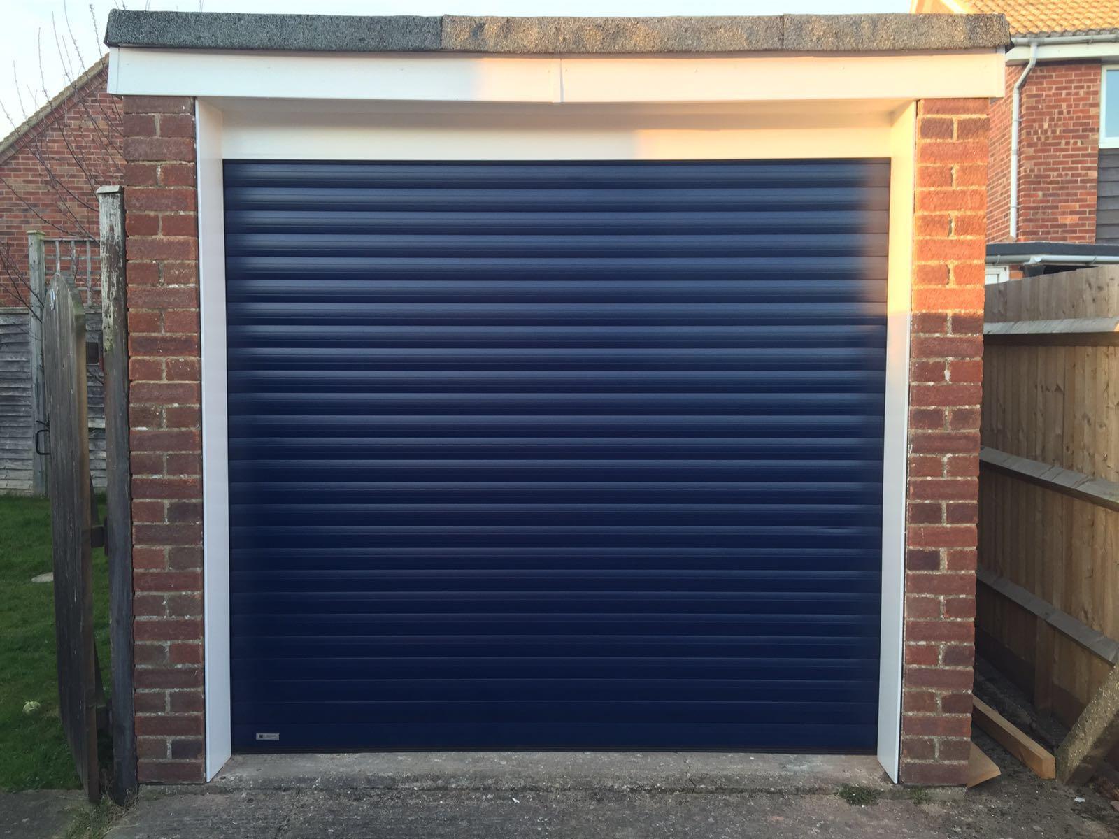 Navy Blue Electric Roller Garage Door Shutter Spec Security