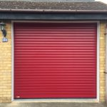 Red SeceuroGlide Roller Garage Door installed in Aylesbury, Buckinghamshire by Shutter Spec Security