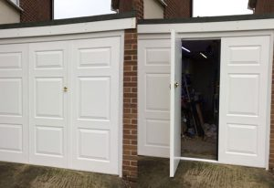 Bi-fold hinged garage door in thame